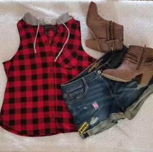 Polly & Esther Red/Black Plaid Tank with Hood